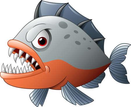 illustration of Angry piranha cartoon  イラスト・ベクター素材