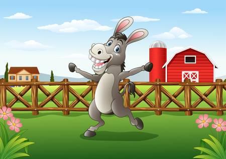 Ilustración de Burro de dibujos animados en el fondo de la granja