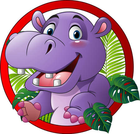 Illustratie van Cartoon grappige hippo mascotte Stockfoto - 64147107