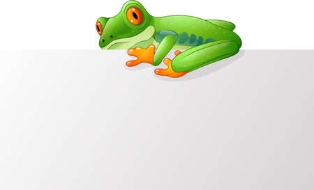 arrow poison: illustration of Cute frog on the blank sign