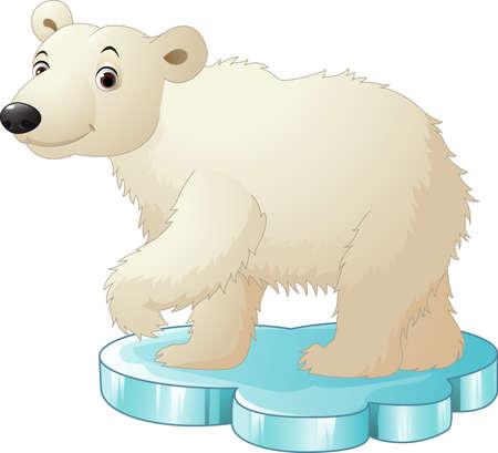 illustration of Cartoon polar bear sitting on floe