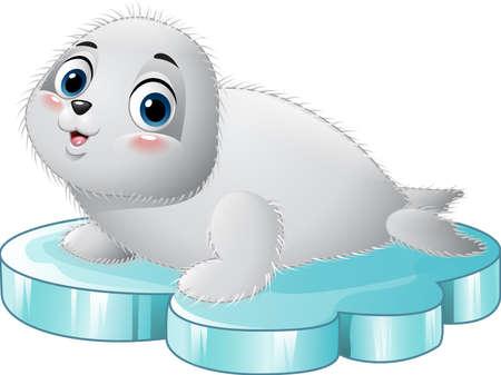 floe: illustration of Cartoon baby seal on the floe Illustration
