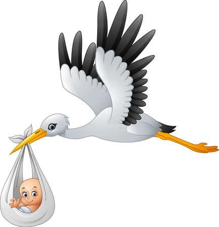 illustration of Cartoon stork carrying baby