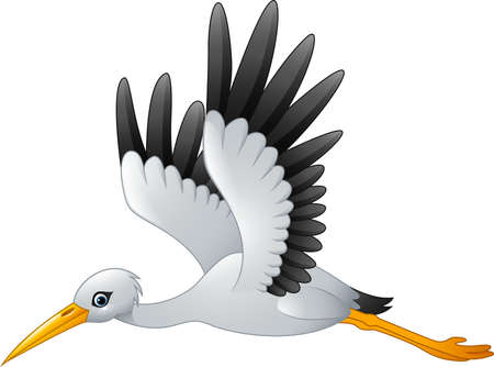 illustration of Cartoon stork flying