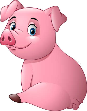 illustration of Cartoon adorable baby pig