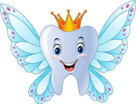 illustration de bande dessinée de sourire fée des dents