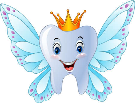 illustration of Cartoon smiling tooth fairy