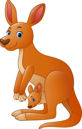 pouch: illustration of Cartoon red kangaroo carrying a cute Joey Illustration