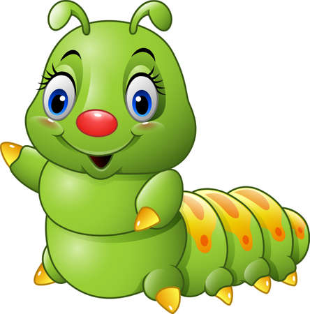 illustration of Cartoon green caterpillar