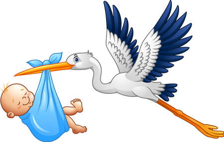 illustration of Cartoon stork with baby boy  イラスト・ベクター素材