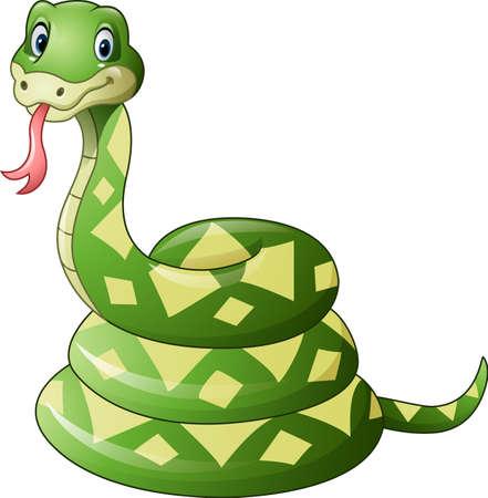 illustration of Cute green snake cartoon Stock Vector - 64330094