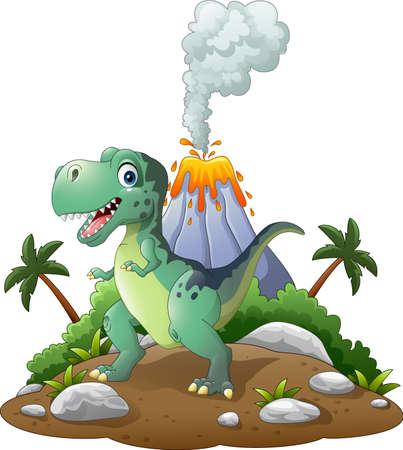 powerful volcano: illustration of Cartoon happy dinosaur in the prehistoric background Illustration