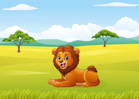illustration of Cute lion sitting in jungle