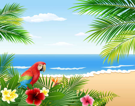 illustration of Card with tropical beach, tropical plants and parrot Иллюстрация