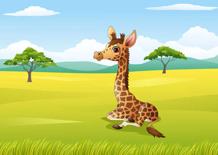 illustration of Cartoon giraffe sitting in the jungle Illustration