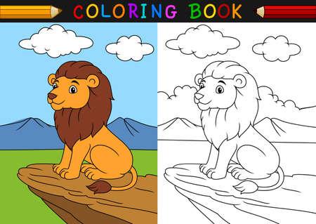 만화 사자 색칠하기 책의 벡터 일러스트