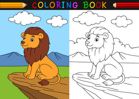 vector illustration of Cartoon lion coloring book