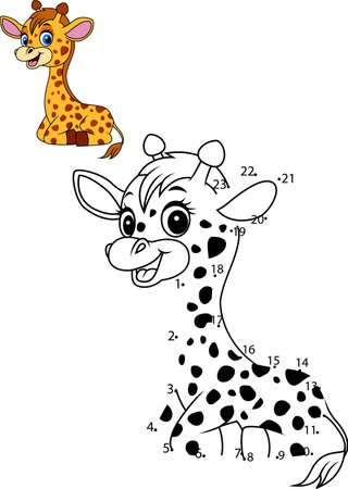 vector illustration of Connect the number to draw the animal educational game for children, Cute baby giraffe