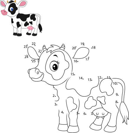 vector illustration of Connect the number to draw the animal educational game for children, Cute little cow Ilustracja