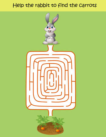 Vector illustration of Maze game, help the rabbit to find the carrot Illustration