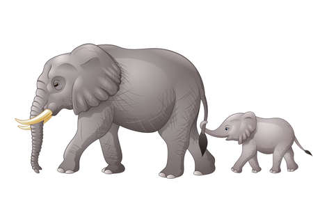 Vector illustration of Cute mother and baby elephant