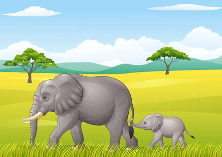 illustration of Cartoon funny elephant in the wild Фото со стока - 66105698