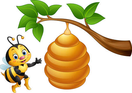 illustration of Cartoon bee and a beehive Illustration