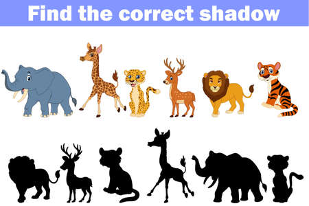 illustration of Find the correct shadow africa animals