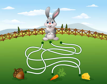 lost child: illustration of Help the rabbit to find the carrot