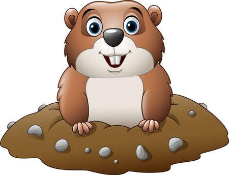 illustration of Cartoon funny groundhog Illustration