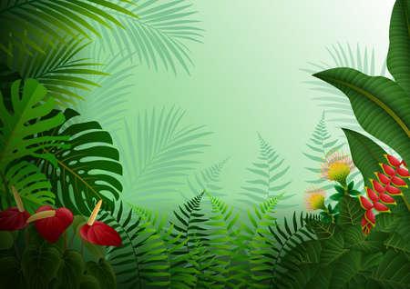 illustration of Tropical forest background Ilustração