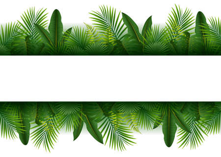 pals: illustration of Blank sign with Tropical forest background