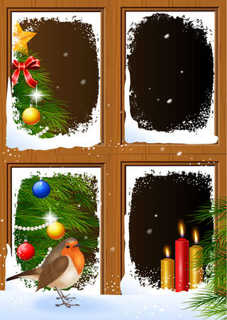 wooden window: illustration of Christmas scenes seen through a wooden window