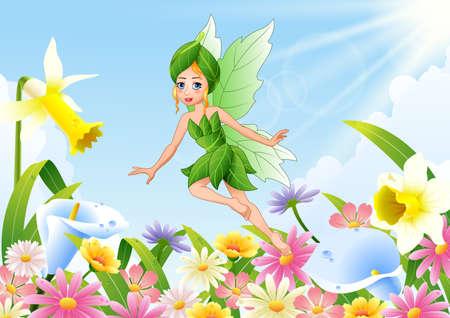 illustration of Cute fairy flying on flower field Illustration