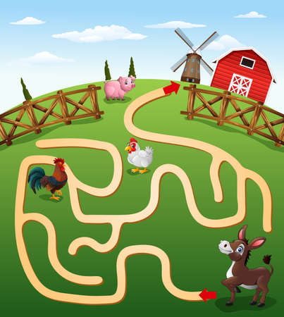 illustration of Help the donkey to find the farm