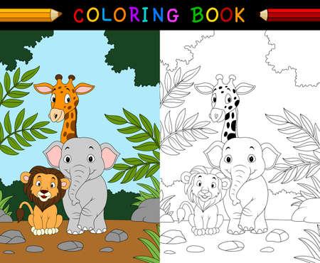 Ilustración De Dibujos Animados Safari De Animales Para Colorear ...