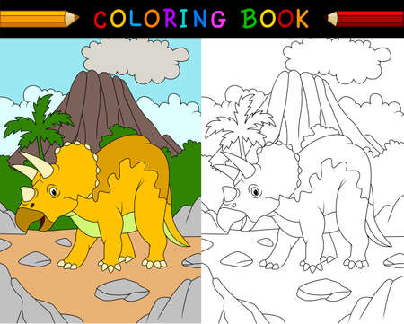 triceratops: illustration of Cartoon triceratops coloring book
