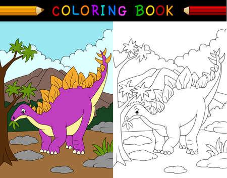 stegosaurus: ilustración de dibujos animados de libro para colorear estegosaurio