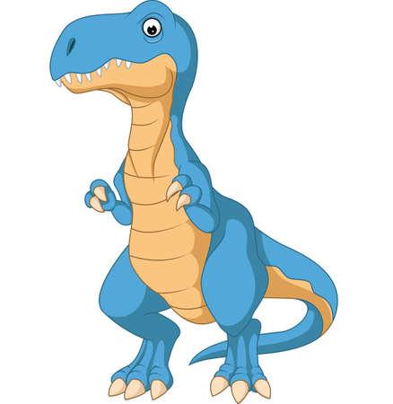 illustratie van schattige blauwe dinosaurus cartoon