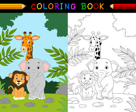 illustration of Cartoon safari animal coloring book