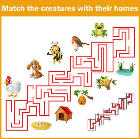 illustratie van Match wezens met hun huizen