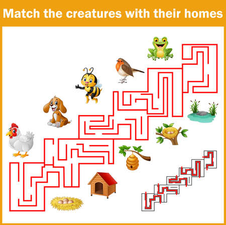 illustration of Match creatures with their homes Vettoriali