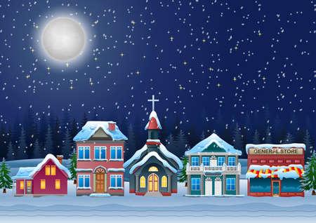 Fabulosa ciudad cubierta de nieve en la noche de Navidad. Ilustración de vector