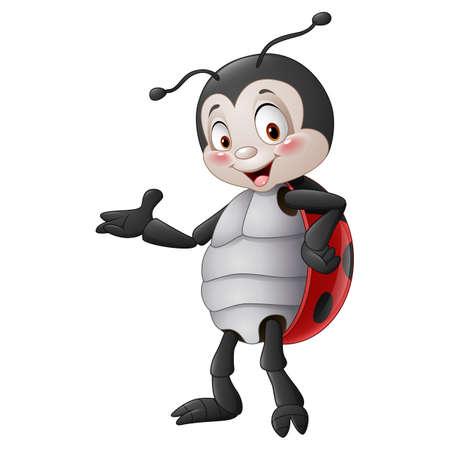 illustration of Cartoon ladybug presenting