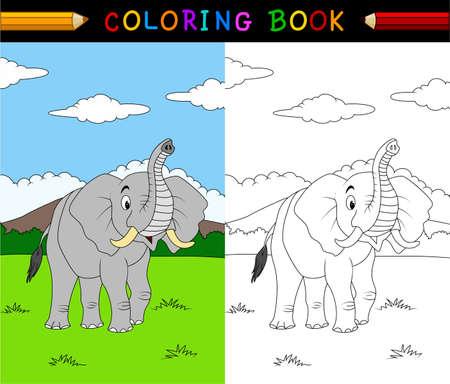 만화 코끼리 색칠하기 책의 그림 일러스트