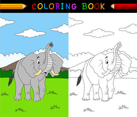 illustration of Cartoon elephant coloring book