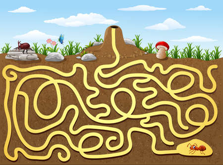 illustration of Help red ant to find way out from underground maze Ilustração