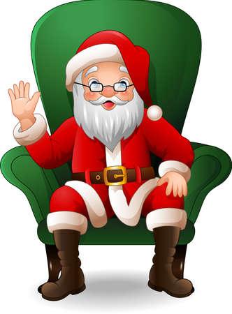 illustration of Cartoon Santa Claus sitting on green arm chair