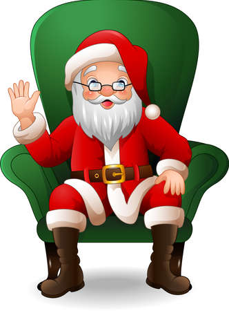 illustration of Cartoon Santa Claus sitting on green arm chair