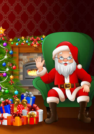 cheeky: illustration of Santa Claus sitting in the living room